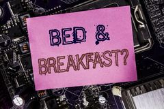 Conceptual hand writing text caption inspiration showing Bed Breakfast. Business concept for Holiday Journey Travel Written on st. Icky, computer main board royalty free stock image