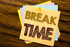 Conceptual hand writing text caption inspiration showing Break Time. Business concept for Stop Pause From Work Workshop written on. Sticky note paper on wooden stock photo