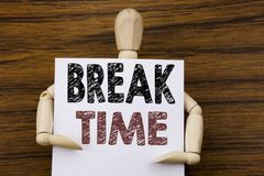 Conceptual hand writing text caption inspiration showing Break Time. Business concept for Stop Pause From Work Workshop written on. Sticky note paper on wooden stock photos