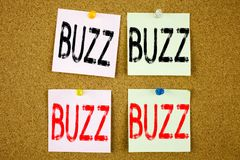 Conceptual hand writing text caption inspiration showing Buzz Business concept for Buzz Word llustration on the colourful Sticky N. Conceptual hand writing text royalty free stock photo