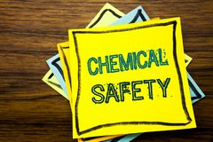 Conceptual hand writing text caption inspiration showing Chemical Safety. Business concept for Hazard Health At Work written on st. Icky note paper on wooden Stock Image