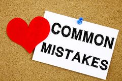 Conceptual hand writing text caption inspiration showing Common Mistakes concept for Common Decision Mistakes and Love written on. Sticky note, reminder cork Stock Photo