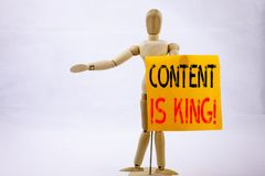 Conceptual hand writing text caption inspiration showing Content Is King Business concept for Business Marketing Online Media writ Royalty Free Stock Photography
