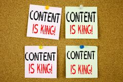 Conceptual hand writing text caption inspiration showing Content Is King Business concept for Business Marketing Online Media on t Stock Photo