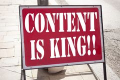 Conceptual hand writing text caption inspiration showing Content Is King. Business concept for Business Marketing Online Media wri. Tten on announcement road stock images