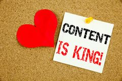 Conceptual hand writing text caption inspiration showing Content Is King concept for Business Marketing Online Media and Love writ Stock Photos