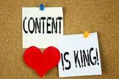 Conceptual hand writing text caption inspiration showing Content Is King concept for Business Marketing Online Media and Love writ Royalty Free Stock Photos
