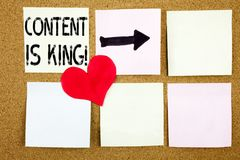 Conceptual hand writing text caption inspiration showing Content Is King concept for Business Marketing Online Media and Love writ Royalty Free Stock Image