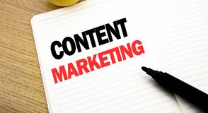 Conceptual hand writing text caption inspiration showing Content Marketing. Business concept for Online Media Plan written on note. Book with space on book Royalty Free Stock Photography