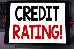 Conceptual hand writing text caption inspiration showing Credit Rating. Business concept for Finance Score History written on tabl. Et laptop on black keyboard Royalty Free Stock Image