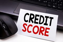 Conceptual hand writing text caption inspiration showing Credit Score. Business concept for Financial Rating Record written on sti. Cky note paper on black stock image