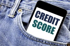 Conceptual hand writing text caption inspiration showing Credit Score. Business concept for Financial Rating Record Written phone. Mobile phone, cellphone stock photography