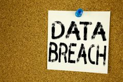 Conceptual hand writing text caption inspiration showing Data Breach. Business concept for Tech Internet Network Breaking into Dat Stock Image