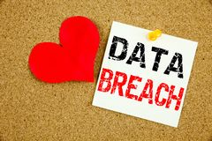 Conceptual hand writing text caption inspiration showing Data Breach concept for Tech Internet Network Breaking into Database and Royalty Free Stock Photos