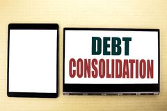 Conceptual hand writing text caption inspiration showing Debt Consolidation. Business concept for Money Loan Credit written on tab. Conceptual hand writing text Stock Image