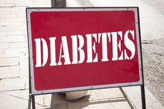 Conceptual hand writing text caption inspiration showing Diabetes. Business concept for Disease Medical Insulin written on announc. Ement road sign with Stock Photography