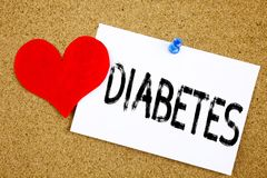 Conceptual hand writing text caption inspiration showing Diabetes concept for Disease Medical Insulin and Love written on sticky n. Ote, reminder cork background Stock Photography