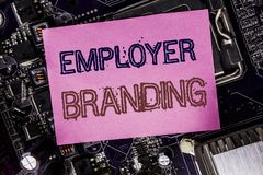 Conceptual hand writing text caption inspiration showing Employer Branding. Business concept for Brand Building Written on sticky. Computer main board stock images
