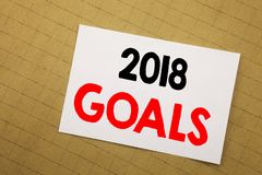 Conceptual hand writing text caption inspiration showing 2018 Goals. Business concept for financial planning, business strategy Wr. Itten on sticky note yellow Stock Photography
