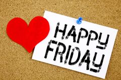 Conceptual hand writing text caption inspiration showing Happy Friday concept for Greeting Announcement and Love written on sticky. Note, reminder cork stock photo