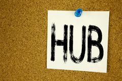 Conceptual hand writing text caption inspiration showing HUB. Business concept for HUB Advertisement written on sticky note, remin. Der cork background with Royalty Free Stock Photos