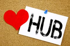 Conceptual hand writing text caption inspiration showing HUB concept for HUB Advertisement and Love written on sticky note, remind. Er cork background with space Royalty Free Stock Images