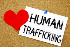 Conceptual hand writing text caption inspiration showing Human Trafficking concept for Slavery Crime Prevention and Love written o Stock Images