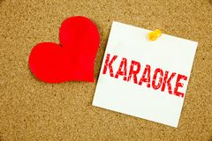 Conceptual hand writing text caption inspiration showing Karaoke concept for Singing Karaoke Music and Love written on sticky note Royalty Free Stock Images