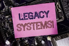 Conceptual hand writing text caption inspiration showing Legacy Systems. Business concept for Upgrade SOA Application Written on s. Ticky, computer main board Stock Images