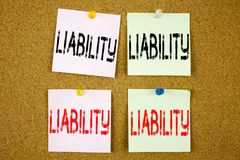 Conceptual hand writing text caption inspiration showing Liability Business concept for Accountability Legal Blame Risk on the col Royalty Free Stock Images