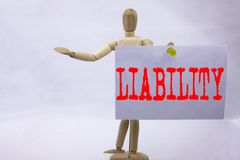 Conceptual hand writing text caption inspiration showing Liability Business concept for Accountability Legal Blame Risk written on Royalty Free Stock Photos