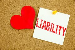Conceptual hand writing text caption inspiration showing Liability concept for Accountability Legal Blame Risk and Love written on Royalty Free Stock Photo