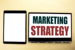 Conceptual hand writing text caption inspiration showing Marketing Strategy. Business concept for Success Digital Plan written on. Conceptual hand writing text Royalty Free Stock Photo