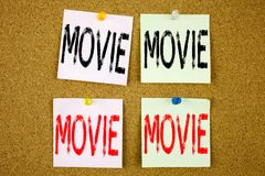 Conceptual hand writing text caption inspiration showing Movie Business concept for Entertainment Movie Film on the colourful Stic Royalty Free Stock Images