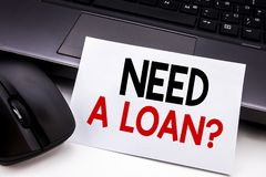 Conceptual hand writing text caption inspiration showing Need A Loan Question. Business concept for Mortage Credit written on stic. Ky note paper on black Royalty Free Stock Photography