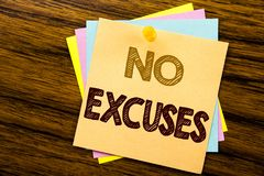 Conceptual hand writing text caption inspiration showing No Excuses. Business concept for Stop Ban for Excuse written on sticky no. Te paper on wooden background Royalty Free Stock Photos