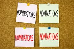 Conceptual hand writing text caption inspiration showing Nominations Business concept for Election Nominate Nomination on the colo. Conceptual hand writing text Royalty Free Stock Photo