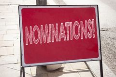 Conceptual hand writing text caption inspiration showing Nominations. Business concept for Election Nominate Nomination written on. Announcement road sign with Royalty Free Stock Photography