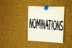 Conceptual hand writing text caption inspiration showing Nominations. Business concept for  Election Nominate Nomination written o. N sticky note, reminder cork Stock Photos