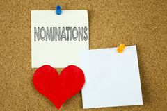 Conceptual hand writing text caption inspiration showing Nominations concept for Election Nominate Nomination and Love written on. Sticky note, cork background Royalty Free Stock Photos