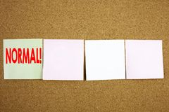 Conceptual hand writing text caption inspiration showing Normal Business concept for Confidence Abnormal Normality Problem Issue o. N the colourful Sticky Note Royalty Free Stock Photos
