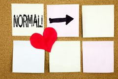 Conceptual hand writing text caption inspiration showing Normal concept for Confidence Abnormal Normality Problem Issue and Love w. Ritten on wooden background Stock Images