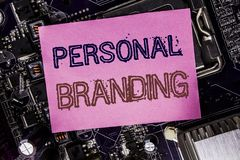 Conceptual hand writing text caption inspiration showing Personal Branding. Business concept for Brand Building Written on sticky. Computer main board stock image