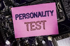 Conceptual hand writing text caption inspiration showing Personality Test. Business concept for Attitude Assessment Written on sti. Cky, computer main board stock photography
