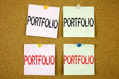 Conceptual hand writing text caption inspiration showing Portfolio Business concept for Business Marketing Design on the colourful Royalty Free Stock Images