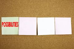 Conceptual hand writing text caption inspiration showing Possibilities Business concept for Impossible Choice Choices on the colou. Rful Sticky Note close-up Royalty Free Stock Images