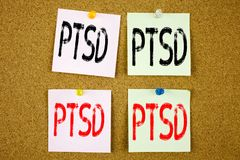 Conceptual hand writing text caption inspiration showing PTSD Post-Traumatic Stress Disorder  Business concept for Health Treatmen. T on colourful Sticky Note Stock Image