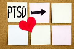 Conceptual hand writing text caption inspiration showing PTSD Post-Traumatic Stress Disorder  concept for Health Treatment and Lov. E written on wooden Royalty Free Stock Photo