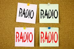 Conceptual hand writing text caption inspiration showing Radio Business concept for Media and Education on the colourful Sticky No Stock Photos