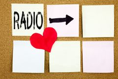 Conceptual hand writing text caption inspiration showing Radio concept for Media and Education and Love written on wooden backgrou Royalty Free Stock Photography